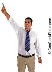 serious businessman pointing sideway