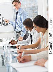 Serious businessman presenting bar chart in meeting