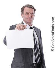 serious businessman showing blank business card