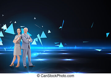 Serious businessman standing back to back with a woman against small pyramids on technical background