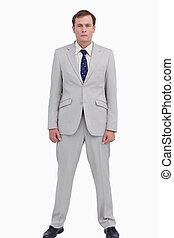 Serious businessman standing