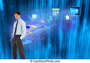 Serious businessman standing with hands in pockets against futuristic blue black background