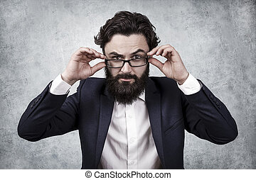 serious businessman with glasses