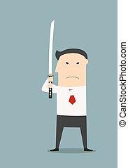 Serious businessman with katana sword, ready to fight
