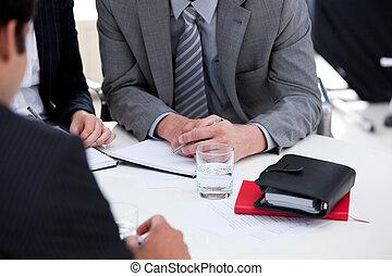 Serious businessmen having a brainstorming