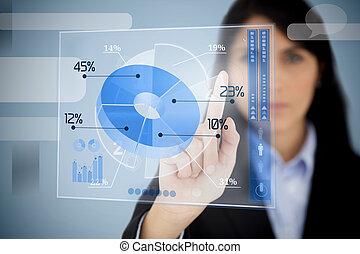 Serious businesswoman using blue pie chart interface