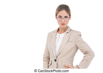 Serious businesswoman with glasses