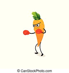 Serious carrot character in boxing gloves punching, cartoon...