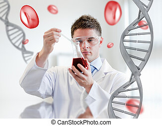 Serious chemist examining a beaker of blood on digitally...