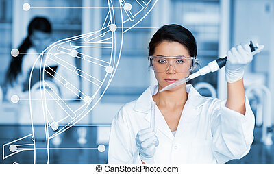 Serious chemist working with white dna helix diagram inteface in the lab