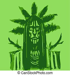 Serious chief of the Indian tribe. Vector illustration.