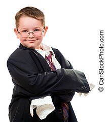Serious child wearing suit that is too big for him