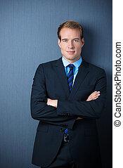 Serious confident businessman
