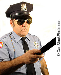 Serious Cop - , A uniformed Police Officer pointing his club...