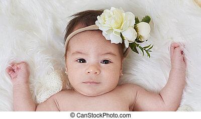 Serious cute little baby girl