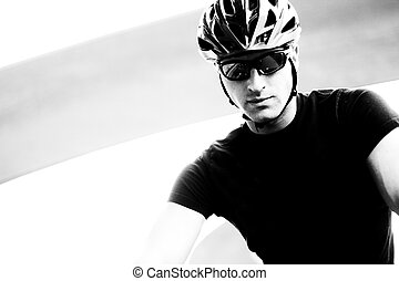 Serious Cyclist In Monotone - Monotone Closeup Photo Of A...