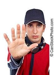 Serious disc jockey saying stop, over a white background....