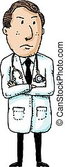 Serious Doctor - A cartoon doctor standing with folded arms.