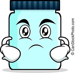 Serious face jar character cartoon style
