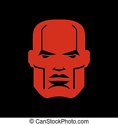 Serious face logo. Man head emblem. Red manly mask