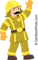Serious firefighter or fireman in uniform