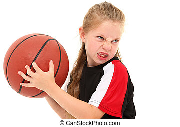 Serious Girl Child Basketball Player Throwing Ball
