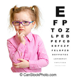Serious girl in glasses with eye chart isolated