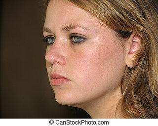 serious girl's face