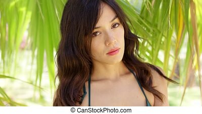 Serious gorgeous woman in shade of palm leaves - Single...