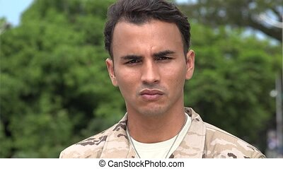 Serious Hispanic Male Soldier