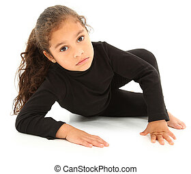 Serious Hispanic Preschooler Crawling on White Floor. Clipping path.