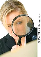 Serious Investigator Examine Folder