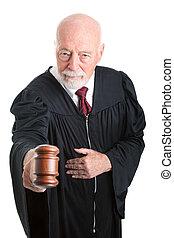Serious Judge - Gavel - Serious judge banging his gavel in...