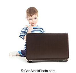 serious kid with notebook on white background