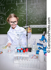 girl doing experiments