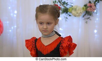 Serious Little Girl In Red Dress - Serious little girl in...