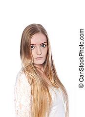 Serious Long Hair Woman Looking at Camera
