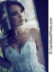 Serious look of young bride - Serious look of young brunette...