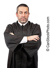 Serious male judge - A serious male judge isolated on white...