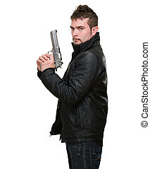 serious man holding a gun