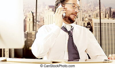 Serious man in office in New York