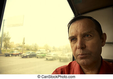 serious man in trolleybus(special warm fx,focus point on the...