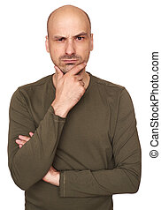 Serious man looking at camera isolated