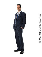serious man - man in blue suit full front shot on white