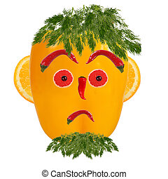 Serious man portrait made of vegetables and fruits