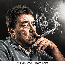 man smoking a cigar