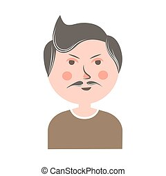 Serious man with mustache and pink cheeks portrait - Serious...