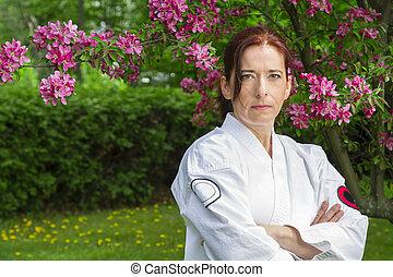 Serious martial art woman