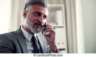 Serious mature businessman with smartphone making a phone...