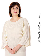 middle age woman - Serious middle age woman isolated on...